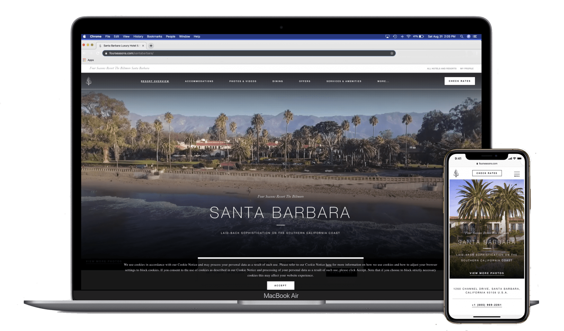 o visually represent Rose & Crown Co. offering web design to the businesses of Santa Barbara