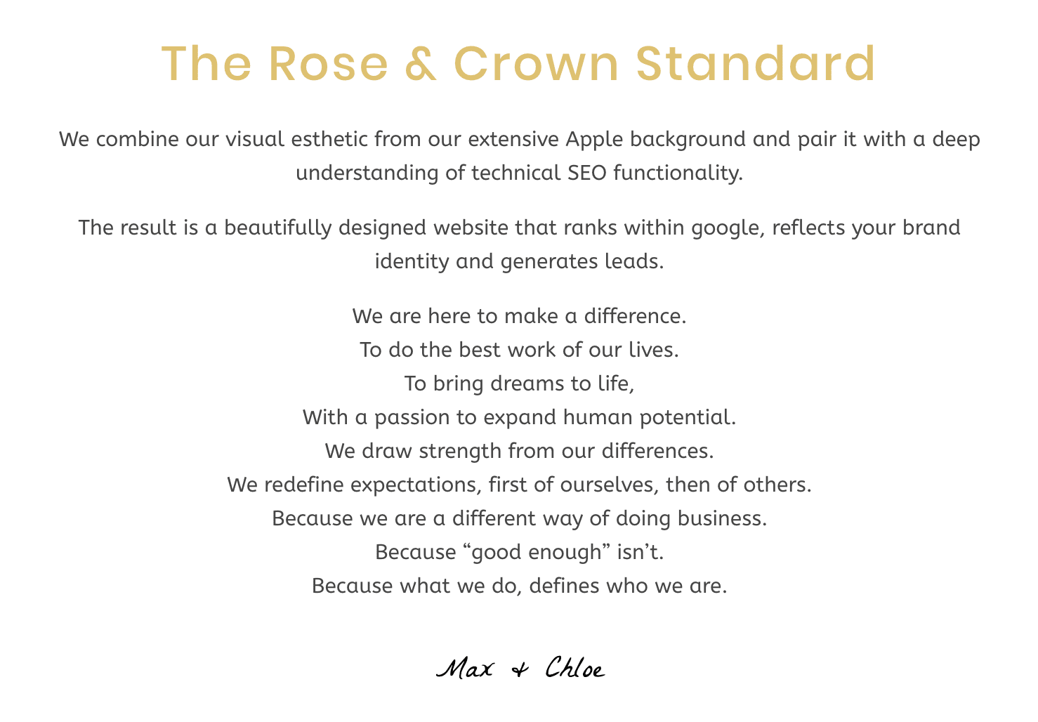 This image describes the Rose & Crown Standard