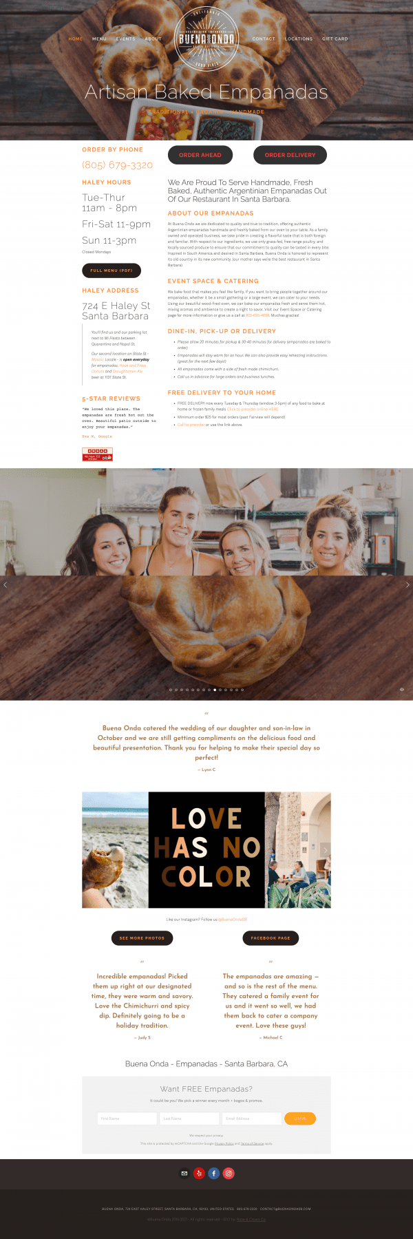 Visual Representation of the website refresh we did on Buena Onda Empanadas website.